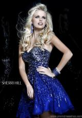 Sherri Hill Short 8524.  Available in Emerald, Gunmetal, Navy, Nude, Purple, Royal, Strawberry, Turquoise