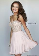 Sherri Hill Short 8548.  Available in Black, Emerald, Fuchsia, Ivory, Lilac, Nude, Purple, Red, Royal, Turquoise
