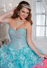 Tiffany Quinceanera 26791.  Available in Aqua/Bubblegum, Ivory/Neon Green, White/White