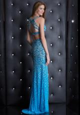 Jasz Couture 5435.  Available in Black/Gold, Blue, White/ Multi