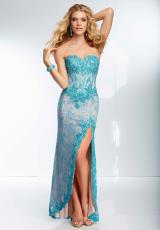 Mori Lee 95037.  Available in Turquoise/Nude