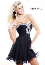 Sherri Hill Short 2944.  Available in Black, Candy Pink, Emerald, Fuchsia, Purple, Royal, Teal, Turquoise, White/Multi