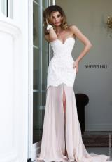 Sherri Hill 21364.  Available in Black/Ivory, Blush/Ivory, Light Blue/Ivory, Nude/Ivory, Red/Nude