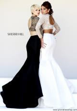Sherri Hill 32009.  Available in Black/Nude, Coral/Nude, Gunmetal/Nude, Ivory/Nude, Navy/Nude