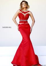 Sherri Hill 32033.  Available in Ivory/Nude, Light Blue/Nude, Pink/Nude, Red/Nude