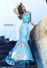 Sherri Hill 32073.  Available in Ivory/Light Blue Print, Ivory/Pink Print, Light Blue Print