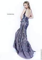 Sherri Hill 6301.  Available in Gunmetal/Nude
