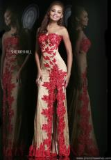 Sherri Hill 9817.  Available in Nude/Aqua, Nude/Black, Nude/Pink, Nude/Red