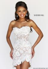 Sherri Hill Short 11054.  Available in Aqua/Nude, Red/Nude, White/Nude