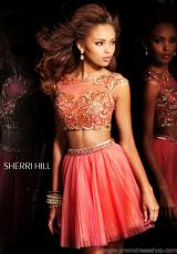 Sherri Hill Short 21154.  Available in Aqua/Light Green, Aqua/Pink, Coral/Gold, Ivory/Gold