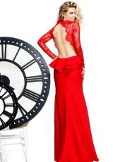 Tarik Ediz 81064.  Available in Black, Coral, Red