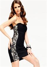 Flirty Faviana Black/Nude Short 2012 Homecoming Dress S6850