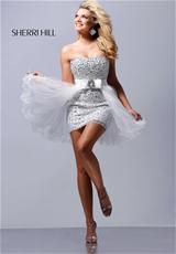 Sherri Hill Short 2308.  Available in Aqua/Silver, Black/Silver, Lilac/Silver, Nude/Silver, Pink/Silver, White/Silver