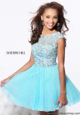 Sherri Hill Short 21032.  Available in Aqua/Light Green, Blush, Coral/Gold, Ivory/Gold, Light Blue/Silver, Lilac/Silver, Navy/Nude, Pink/Silver, Plum/Nude, Turquoise/Gold