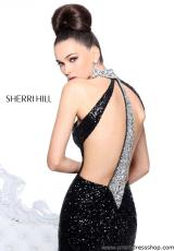 Sherri Hill 21129.  Available in Black/Silver, Orange/Silver