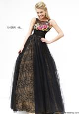 Sherri Hill 21322.  Available in Black/Nude/Multi, Nude/Multi