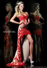 Sherri Hill 21016.  Available in Aqua/Nude, Black/Nude, Coral/Nude, Hot Pink/Nude, Ivory/Nude, Red/Nude