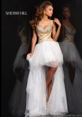 Sherri Hill 21168.  Available in Aqua/Gold, Light Blue/Silver, Nude/Silver, Pink/Gold, White/Gold
