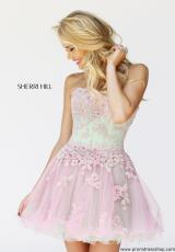 Sherri Hill Short 11062.  Available in Aqua/Peach, Ivory/Nude, Nude/Peach   , Periwinkle/Pink, Pink/Green, Pink/Peach, Yellow/Aqua