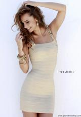 Sherri Hill Short 32046.  Available in Black/Gunmetal, Coral, Emerald, Fuchsia, Gold, Navy/Gunmetal, Red, Royal, Silver