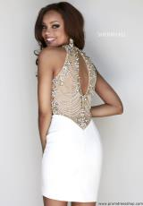 Sherri Hill Short 32002.  Available in Black/Emerald, Nude/Ivory, Purple, Red, Royal