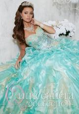 Tiffany Quinceanera 26782.  Available in Aqua/Gold, Royal/Gold, White/White