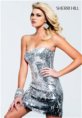 Sherri Hill Short 2226.  Available in Black, Blue/Multi, Bronze, Silver, Turquoise