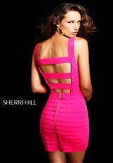 Sherri Hill Short 2220.  Available in Aqua, Coral, Fuchsia, Neon Lime, Neon Orange, Neon Pink, Neon Yellow, Red, Royal Purple, Seafoam