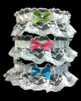 LacePromGarter.  Available in Black, Brown, Coral, Emerald Green, Fuschia, Gold, Ivory, Light Blue, Light Pink, Lilac, Lime, Navy Blue, Orange, Pastel Green, Purple, Red, Royal Blue, Silver, Turquoise, White, Wine, Yellow