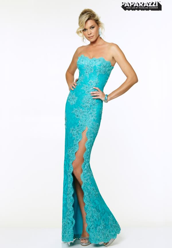 Mori Lee Strapless Lace Dress 97001