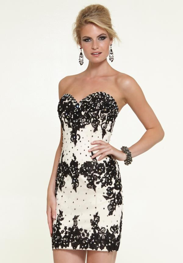 Short Fitted Mori Lee Sticks & Stones Dress 9319