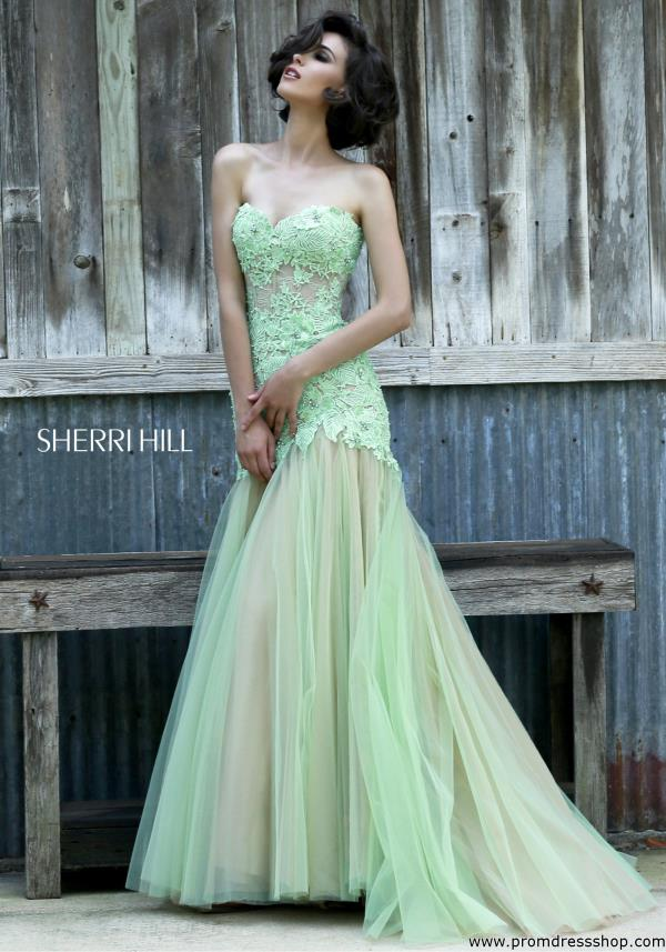Sherri Hill Sweetheart Prom Green Dress 11155