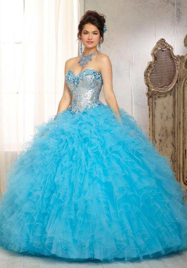 Vizcaya Quinceanera Lace Back Dress 88081