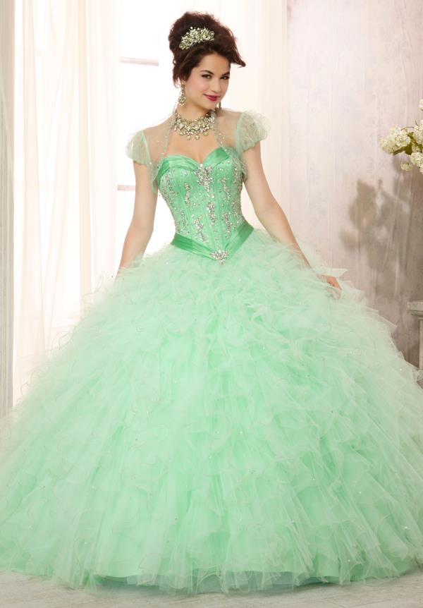 Vizcaya Quinceanera Ruffled Skirt Dress 88085