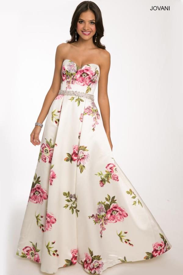 Jovani Strapless Floral Dress 23947