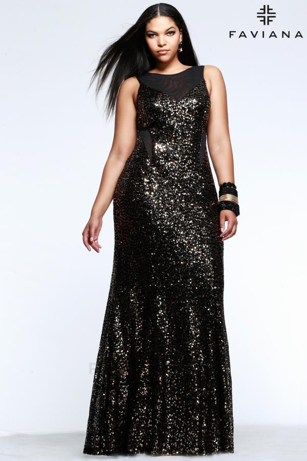 Sequined Long Faviana Dress 9357