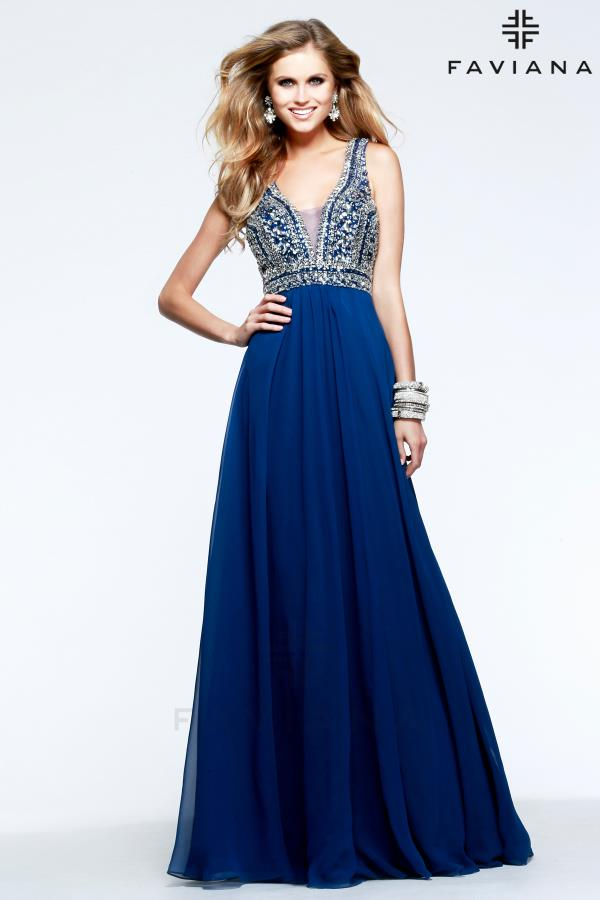 Faviana S7500 Beaded Bodice Navy Dress