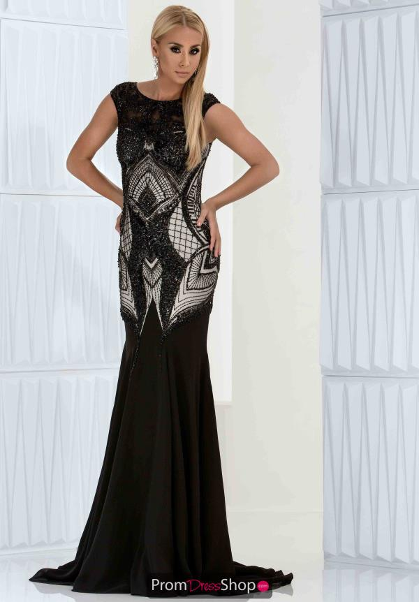 Jasz Couture Long Black Dress 5633