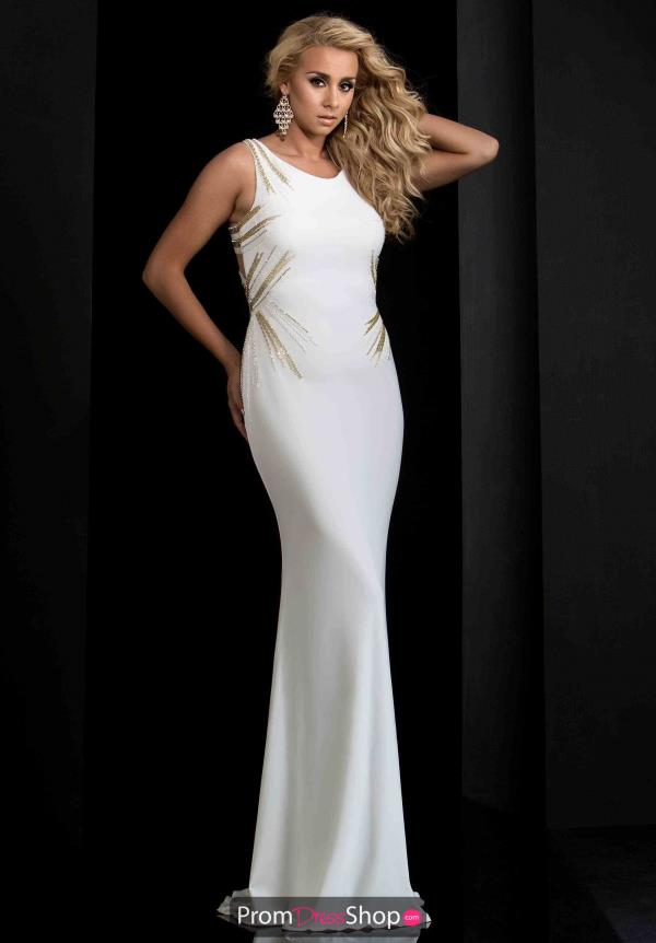 Jasz Couture Long Fitted White Dress 5665