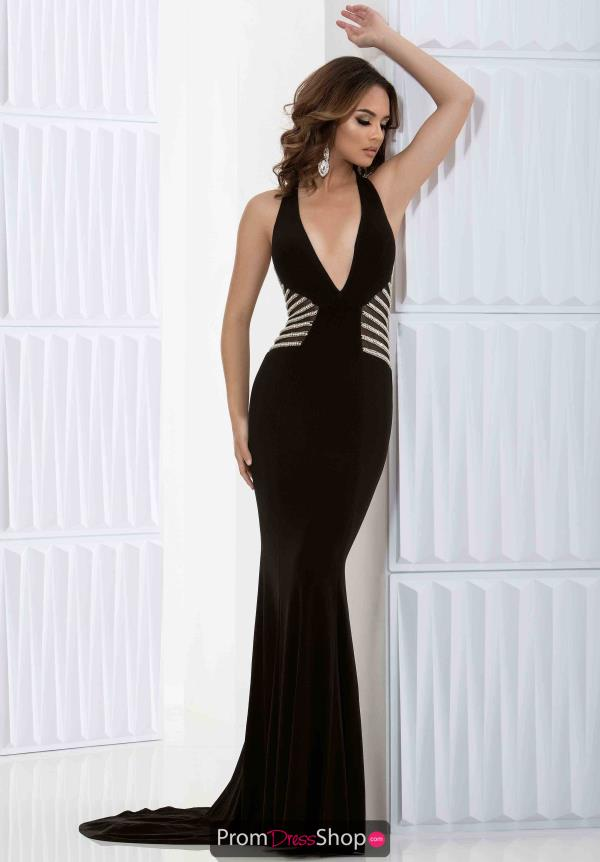 Jasz Couture Plunging Neckline Fitted Dress 5687
