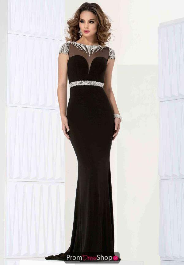 Jasz Couture Beaded Sleeved Dress 5706
