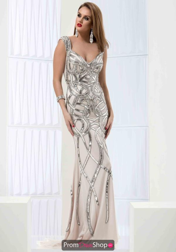 Jasz Couture Two Straps Beaded Dress 5710