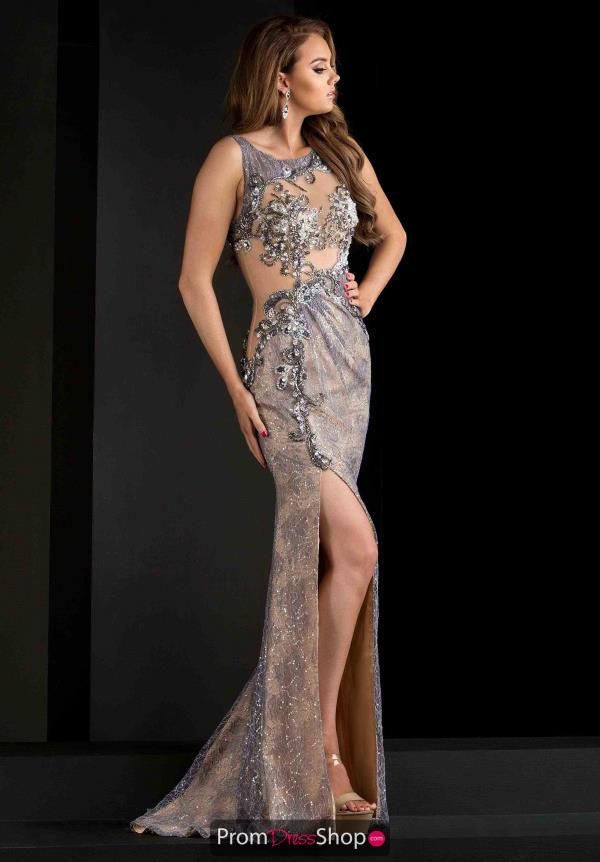 Jasz Couture Beaded High Neckline Dress 5724
