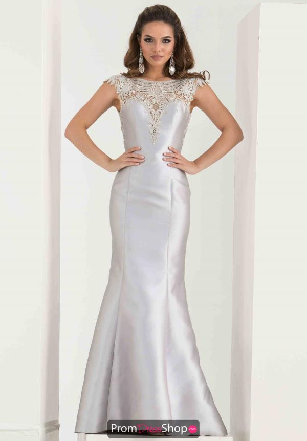 Jasz Couture Silver Applique Fitted Dress 5738
