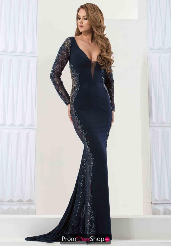 Jasz Couture Navy Fitted Long Dress 5747