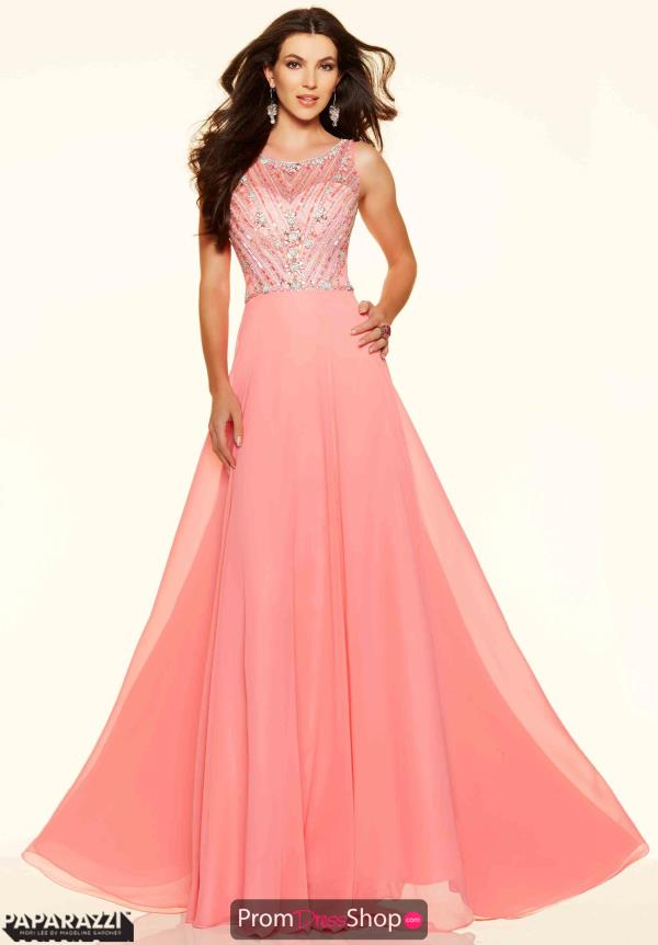 Chiffon A Line Mori Lee Pink Dress 98015