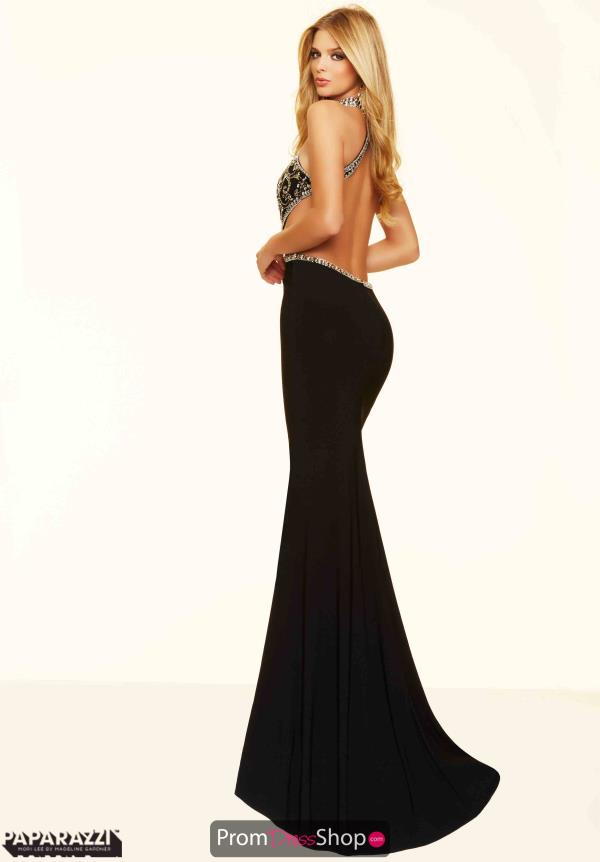 Mori Lee Black Beaded Jersey Dress 98028