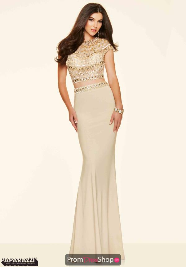 Mori Lee Beaded Crop Top Dress 98034