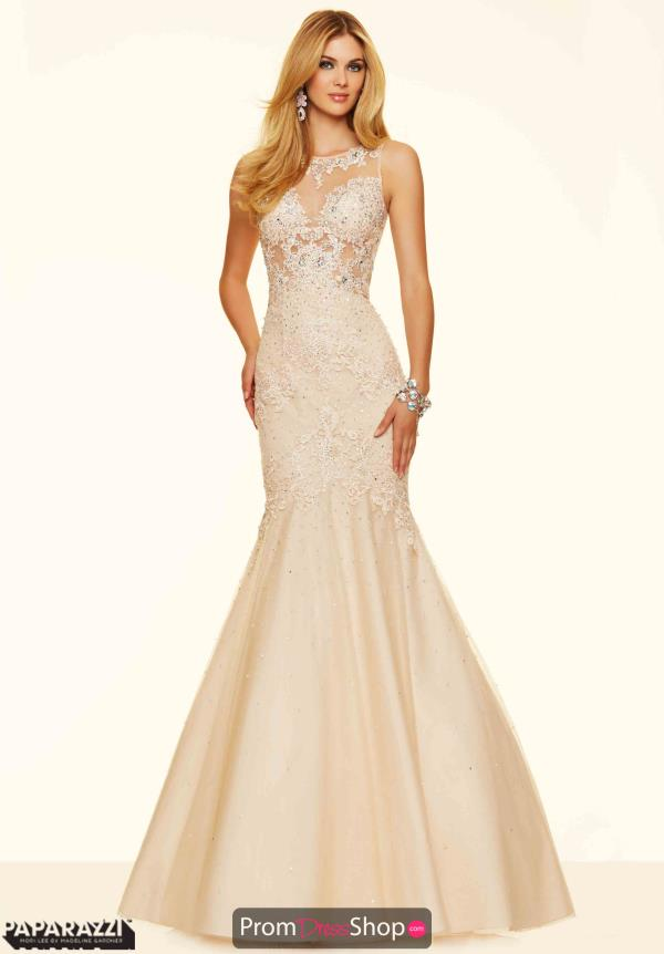 Mori Lee Lace Fitted Champagne Dress 98054