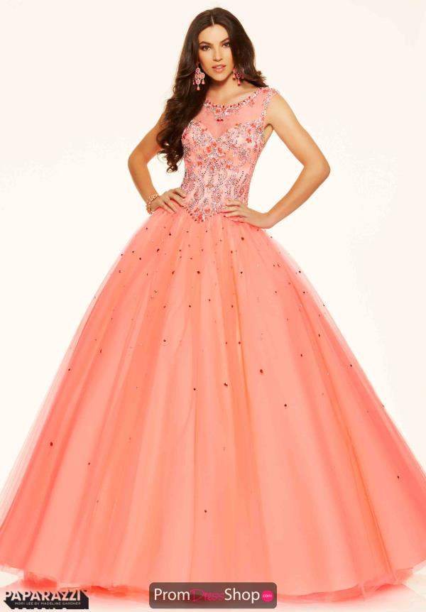 Mori Lee Lace Back Tulle Pink Dress 98063